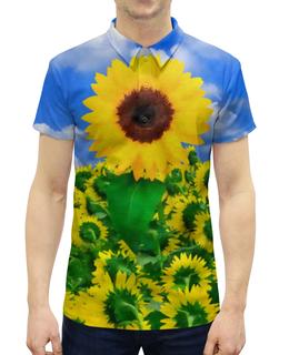 """Рубашка Поло с полной запечаткой """"Подсолнух"""" - лето, солнце, небо, акварель, семечки"""