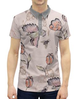 """Рубашка Поло с полной запечаткой """"Птицы и пчёлы"""" - цветы, птицы, природа, тюльпан, пчёлы"""