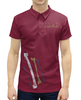 """Рубашка Поло с полной запечаткой """"Dead  состаренные кости"""" - черепа, кости, старинный, потертый, состаренный"""