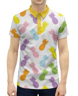 """Рубашка Поло с полной запечаткой """"Ананасы!"""" - паттерн, радуга, фрукты, узор, ананас"""