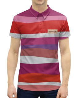 """Рубашка Поло с полной запечаткой """"красные волны"""" - абстракция, разноцветная, купить, поло, мужскую футболку"""