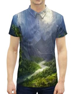 """Рубашка Поло с полной запечаткой """"Пейзаж красками"""" - лес, природа, горы, пейзаж, река"""