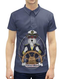 """Рубашка Поло с полной запечаткой """"Собака"""" - собака, капитан"""