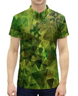 """Рубашка Поло с полной запечаткой """"Геометрия"""" - узор, зеленый, абстракция, фигуры, треугольники"""