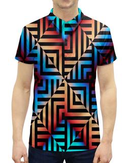 """Рубашка Поло с полной запечаткой """"Графическая мозаика"""" - квадраты, кубики, узоры, графика, геометрия"""