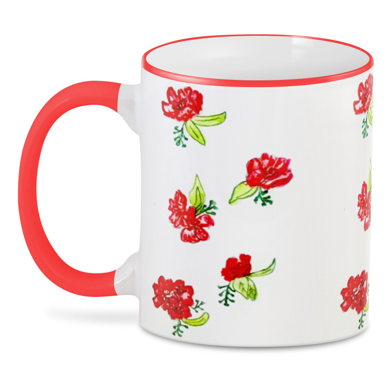 3D кружка Printio 3d красные цветы