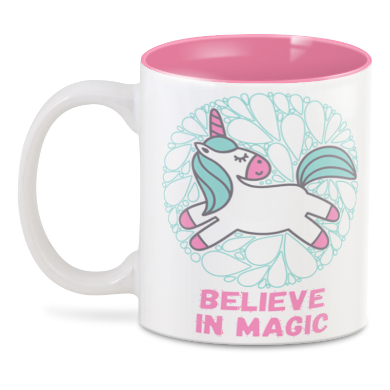 3D кружка Printio  believe in magic ткань magic girl pink полоска розовая