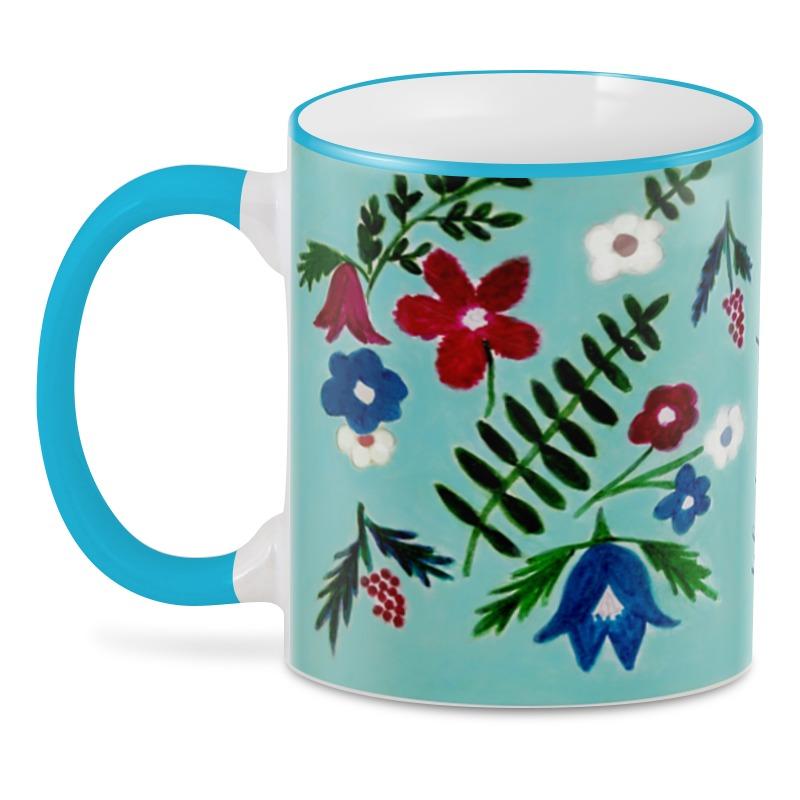 3D кружка Printio Цветы на голубом