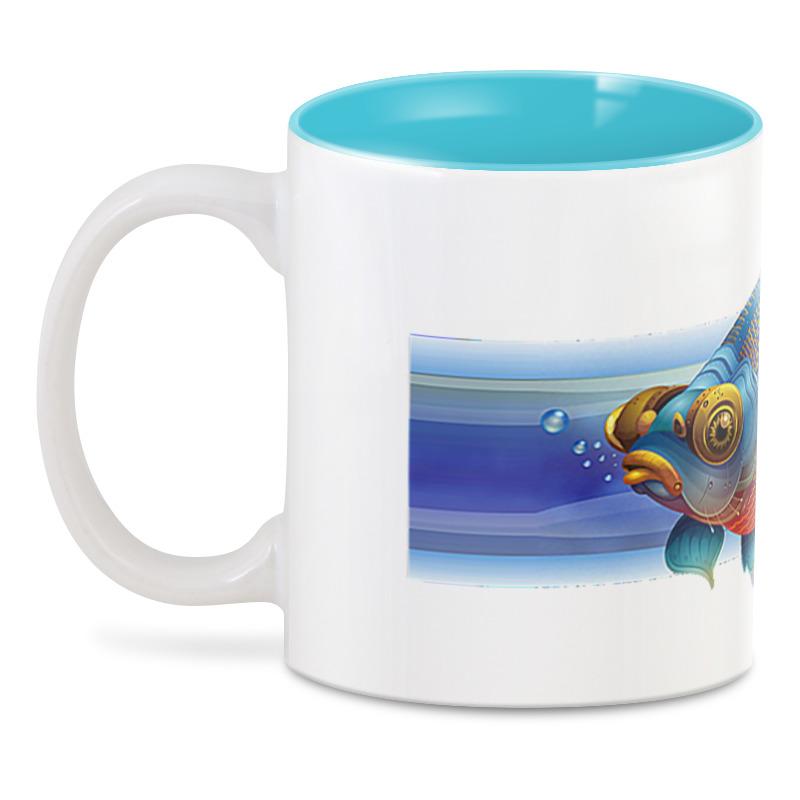 3D кружка Printio Золотая рыбка рыбка робот funny fish голубая