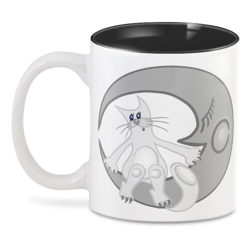 Printio Лунный кот сидит на луне 3d кружка printio кот лаборант