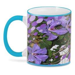 """3D кружка """"Райский цветник."""" - цветы, сиреневый, фиолетовый, синие цветы, вьющийся цветок"""