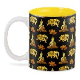 """3D кружка """"Тайский узор"""" - слон, золотой, роскошь, таиланд, элегантный"""