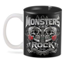 """3D кружка """"МУЗЫКА. MONSTERS ROCK"""" - черепа, красота, эмблема, розы, стиль надпись логотип яркость"""