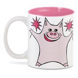 """3D кружка """"Розовый поросёнок с бенгальскими огнями"""" - арт, счастье, свин, розовый поросенок, бенгальский огонь"""