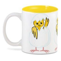 """3D кружка """"желтый новорожденный цыпленок"""" - животные, птицы, день рождения, иллюстрация, новая жизнь"""