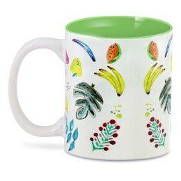 """3D кружка """"Фрукты"""" - вкусно, бананы, арбуз, листья, цветы"""