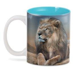 """3D кружка """"ЦАРЬ ЗВЕРЕЙ"""" - хищник, животные, лев, стиль эксклюзив креатив красота яркость, арт фэнтези"""