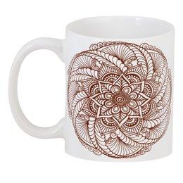 """3D кружка """"Цветок в стиле росписи хной"""" - цветы, этнический, индийский, мехенди"""