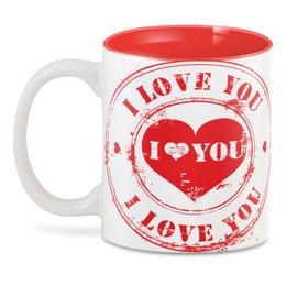 "3D кружка ""люблю"" - сердце, любовь"