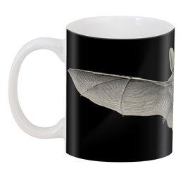 """3D кружка """"Летучая мышь"""" - хэллоуин, черно-белый, летучие мыши, красота форм в природе, эрнст геккель"""