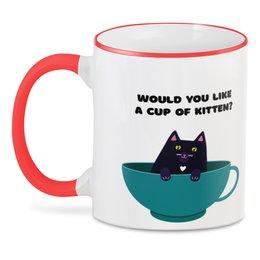 """3D кружка """"Не желаете ли чашечку... котейки?"""" - кошка, котик, чай, уют, игра слов"""
