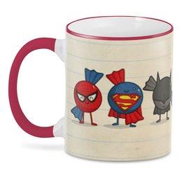 """3D кружка """"Супер герои """" - бэтмен, человек паук, железный человек, зеленый фонарь, супер мен"""