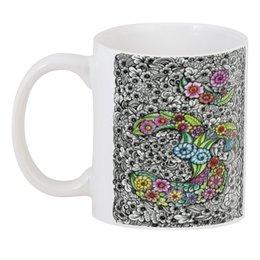 """3D кружка """"Цветочный Ом в стиле мехенди"""" - цветы, ом, индия, индуизм, мехенди"""