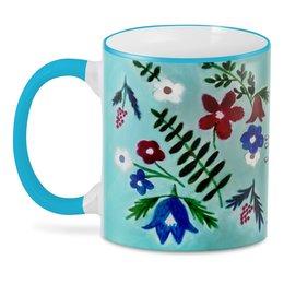 """3D кружка """"Цветы на голубом"""" - лето, цветы, тропики, красные цветы"""