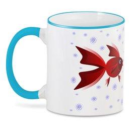 """3D кружка """"Золотая аквариумная рыбка"""" - арт, золотая рыбка, аквариум, детская иллюстрация, под знаком рыб"""