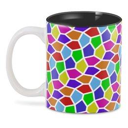 "3D кружка ""Арлекин"" - ярко, мозаика, пятиугольники"