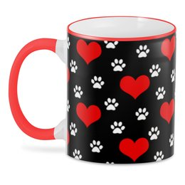"""3D кружка """"СЕРДЕЧКО"""" - сердца, абстракция, следы кошки, стиль эксклюзив креатив красота яркость, арт фэнтези"""