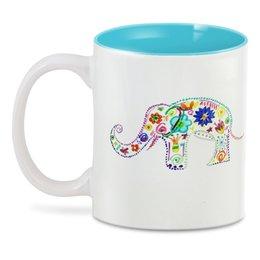 """3D кружка """"Слоник"""" - цветы, счастье, радость, ярко, слоник"""