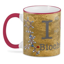 "3D кружка ""I love biochemistry"" - biochemistry, fentanyl, dopamine, heart, английский"