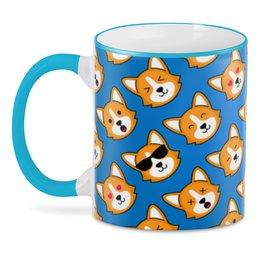 "3D кружка ""CorgiFace"" - собака, домашние животные, корги, вельш-корги, собачникам"