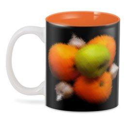 """3D кружка """"Витаминная бомба"""" - апельсин, яблоко, витамин, польза, чеснок"""