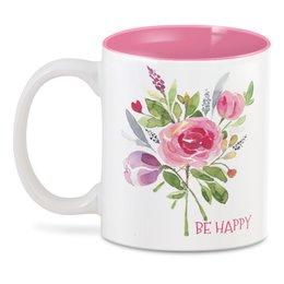 "3D кружка ""Be Happy"" - цветы, роза, be happy, букет, с днем рождения"