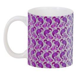 """3D кружка """"Двухцветный орнамент пейсли"""" - узор, орнамент, растения, этнический, пейсли"""