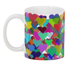 """3D кружка """"Разноцветные сердечки для любимых"""" - сердце, любовь, 14 февраля, орнамент, подарок"""