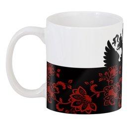 """3D кружка """"Цветы и герб"""" - цветы, россия, герб, орел, хохлома"""