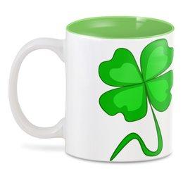 """3D кружка """"День святого Патрика - волшебный четырехлистник"""" - зеленый, паттерн, лист клевера, день святого патрика, четырехлистник"""