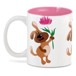 """3D кружка """"Пес держит в лапе цветочек"""" - праздник, цветок, 8 марта, пес, подарок"""