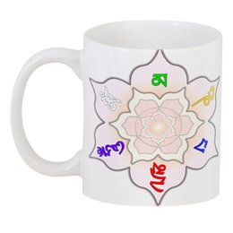 "3D кружка ""Тибетский Ом мани падме хум"" - цветы, надписи, слова, буддизм, мантра"
