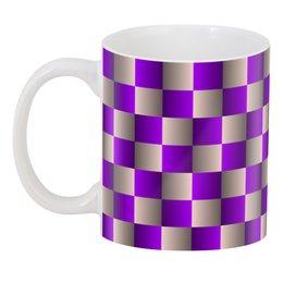 """3D кружка """"Оптическая иллюзия шахматная доска 3"""" - орнамент, абстракция, геометрия, иллюзия"""