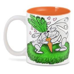 """3D кружка """"Зайчишки с морковкой"""" - любовь, подарок, морковка, влюбленность, зайчишки"""