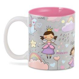"3D кружка ""Принцесса"" - любовь, радуга, сердечки, сказка, единорог"