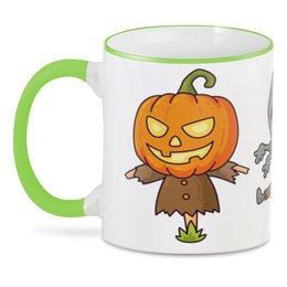 "3D кружка ""Персонажи Хэллоуина"" - хэллоуин, зомби, ужас, привидение, джек - фонарь"