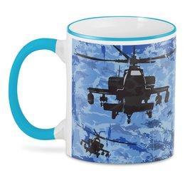 """3D кружка """"Военный вертолет"""" - 23 февраля, армия, камуфляж, милитари"""