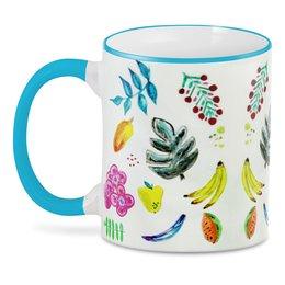 """3D кружка """"Фрукты"""" - цветы, листья, ягоды, бананы, вкусно"""