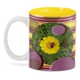 "3D кружка ""Медовое солнце."" - цветок, солнце, насекомое на цветке, макро мир, медонос"