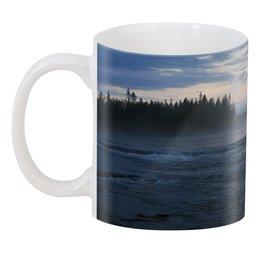 "3D кружка ""Туман над рекой"" - вода, пейзаж, река, вечер, карелия"